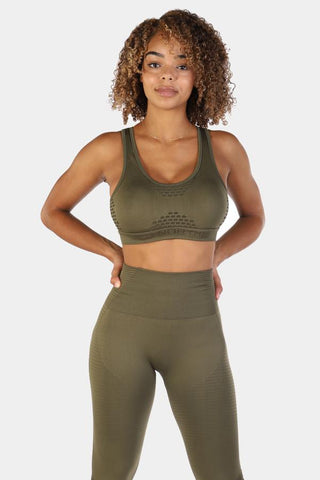 Jed North: Luxe Sports Bra - Olive Green