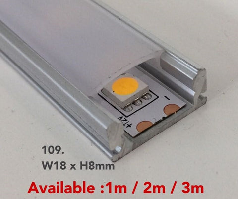 109 Extruded Aluminium Liner for LED strips (Surface Mounted) - Three Cubes Lightings (Singapore)