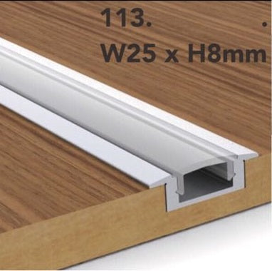 113 Extruded Aluminium Liner for LED strips (Recessed) - Three Cubes Lightings (Singapore)