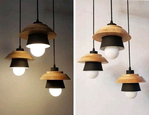 Pendant Lamp (Real Wood Series 3) - Three Cubes Lightings (Singapore)