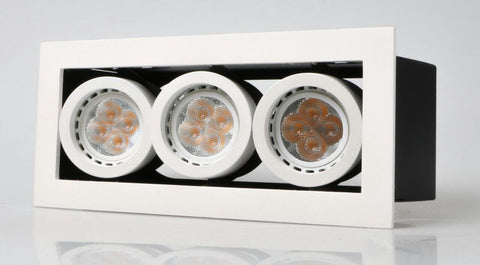 LED recessed Adjustable Spotlight Triple Downlights (GU10/MR16) with spot rims - Three Cubes Lightings (Singapore)