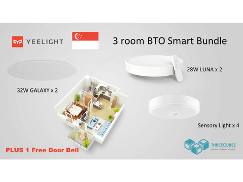 HDB BTO 3 Room SMART-NATION LED Bundle (YEELIGHT) - Three Cubes Lightings (Singapore)