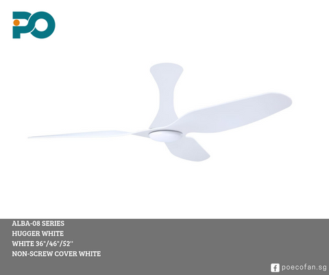 PO Eco Fan DC motor ALBA 08 SERIES (White Hugger) - Three Cubes Lightings (Singapore)