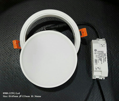 LED Round 8988/8989 (12w/18w) Downlights (Removable Frame) with Safety Mark Driver - Three Cubes Lightings (Singapore)