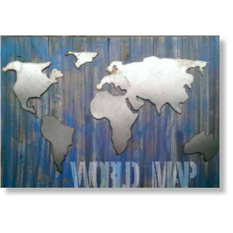 Alu on Wood- World Map - Three Cubes Lightings (Singapore)