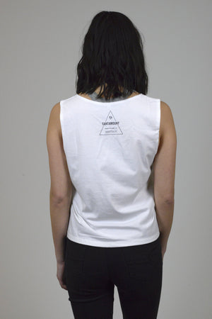 Ladies White Compassion Over Tank | Vegan Brand
