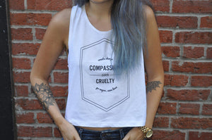 Ladies White Compassion Over Tank - Tantamount Apparel  - 1