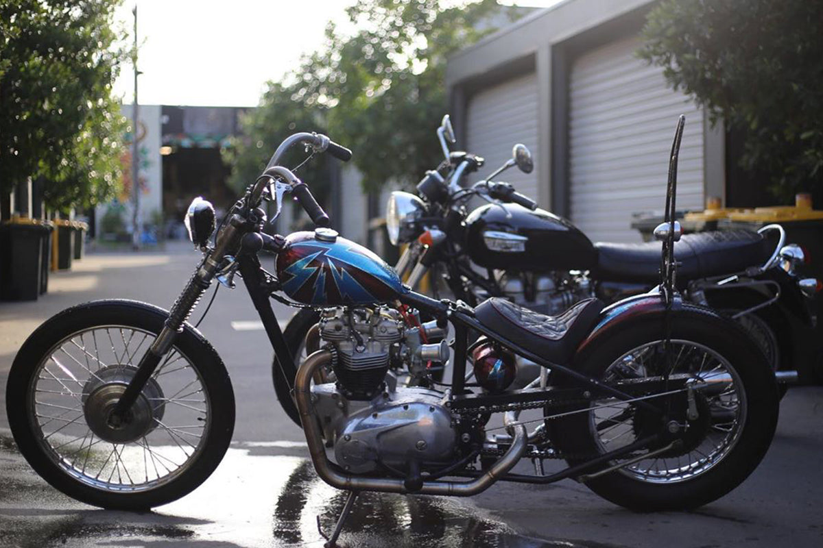 68 Triumph chopper built by Leo Palmer at Hellraiser Garage