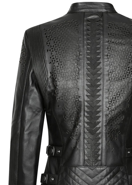 Black arrow label trix motorcycle jacket for women