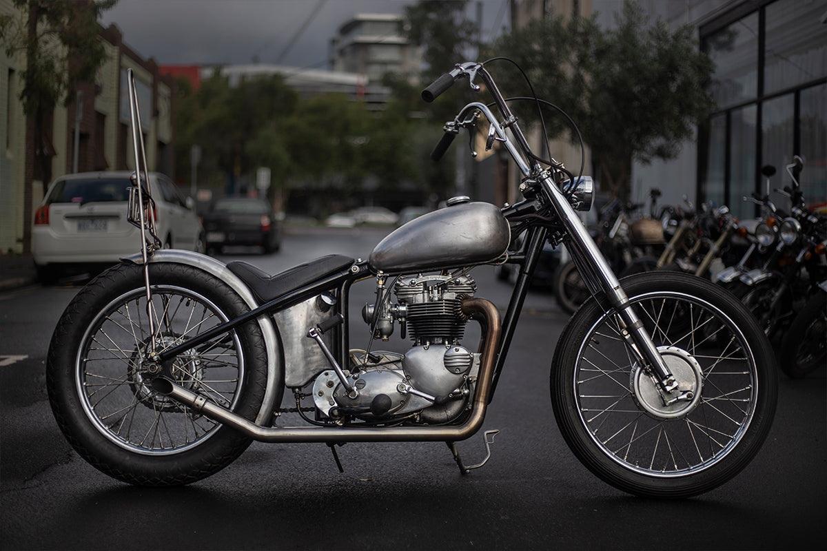 Triumph chopper build at Hellraiser Garage in Melbourne Australia