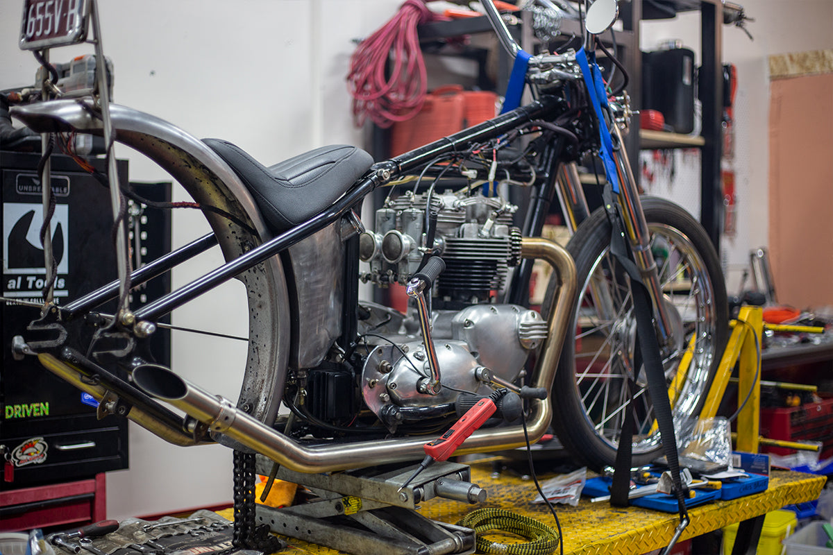 Hellraiser garage melbourne australia triumph chopper build progress