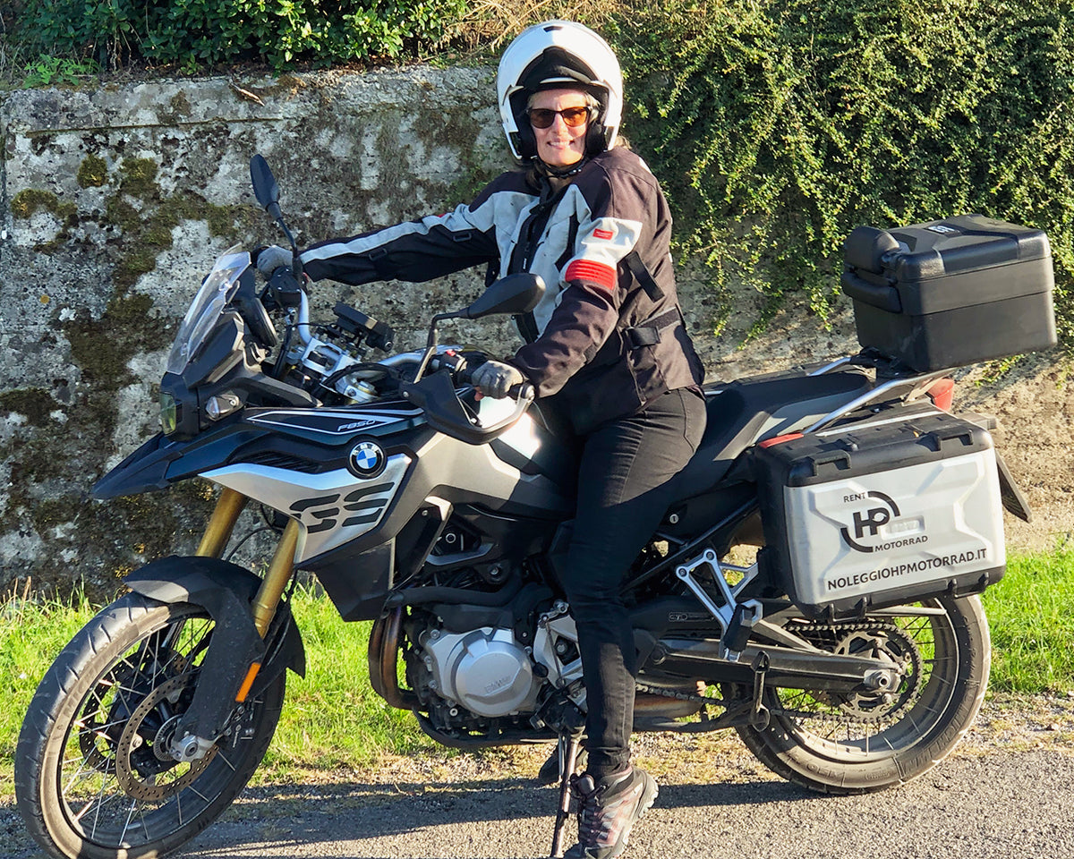 Lynda Meyers riding adventure motorcycles