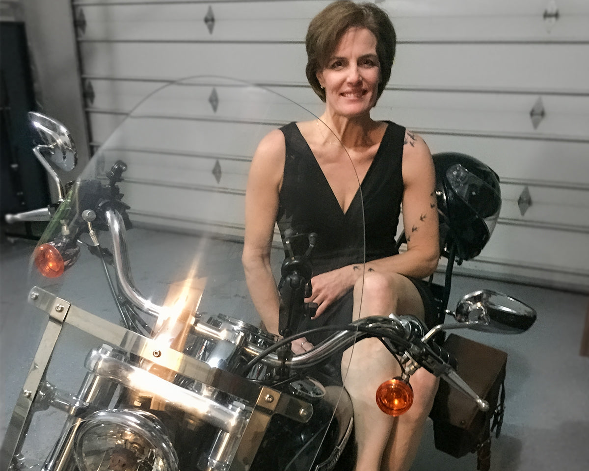 Lynda Meyers and her Harley Super Glide custom