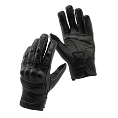 Black leather armoured motorcycle gloves