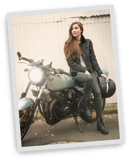 Hannah founder and owner of Black Arrow Label, womens motorcycle gear
