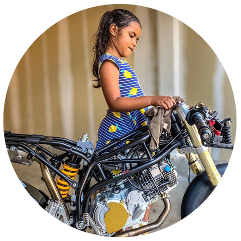 7 year old girl and her motorcycle - harmony castille