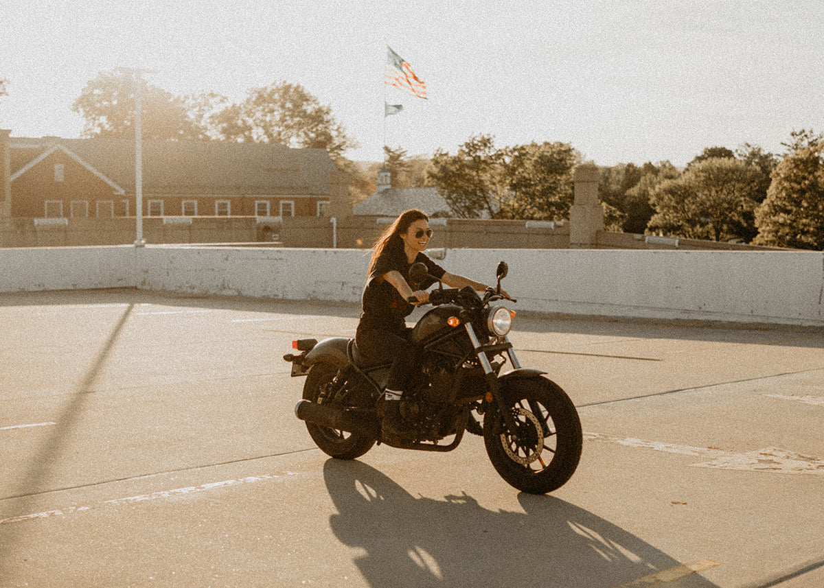 women who ride. Mary Pang on her honda Rebel