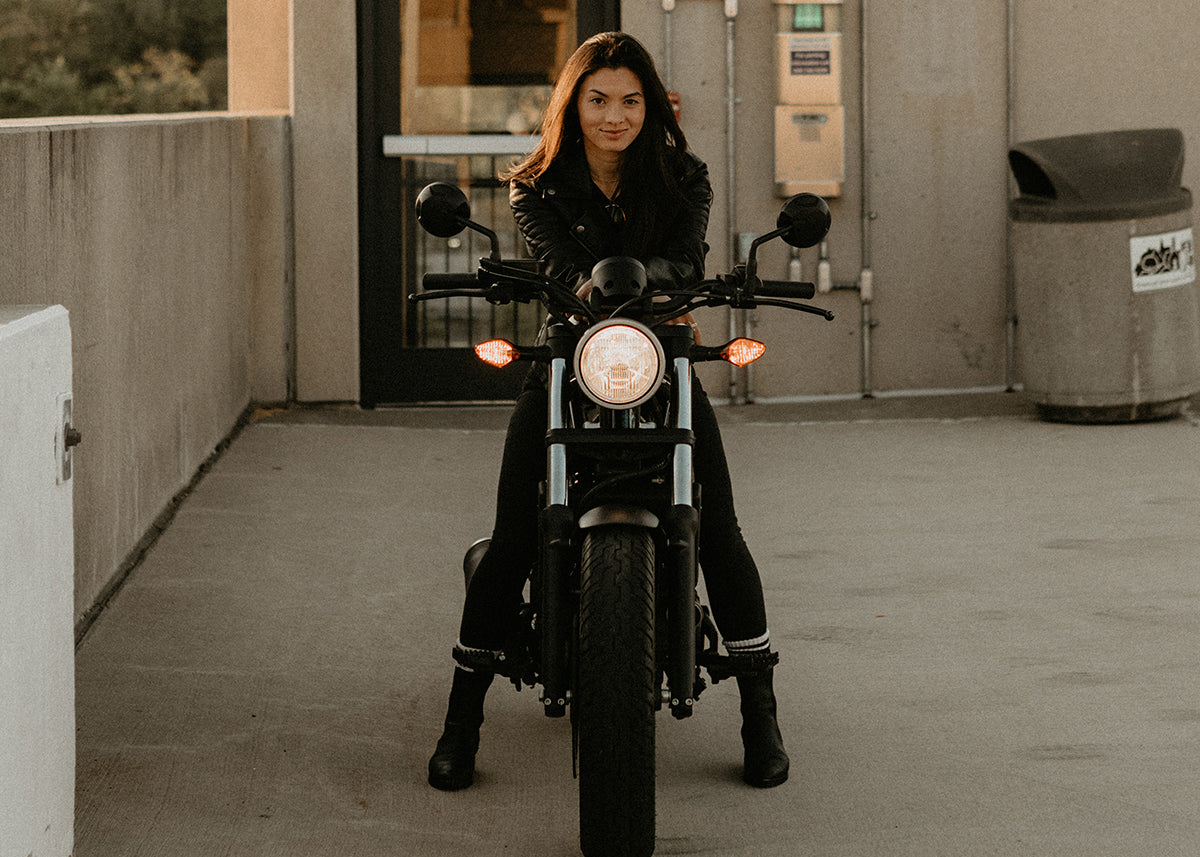 mary pang on her honda rebel