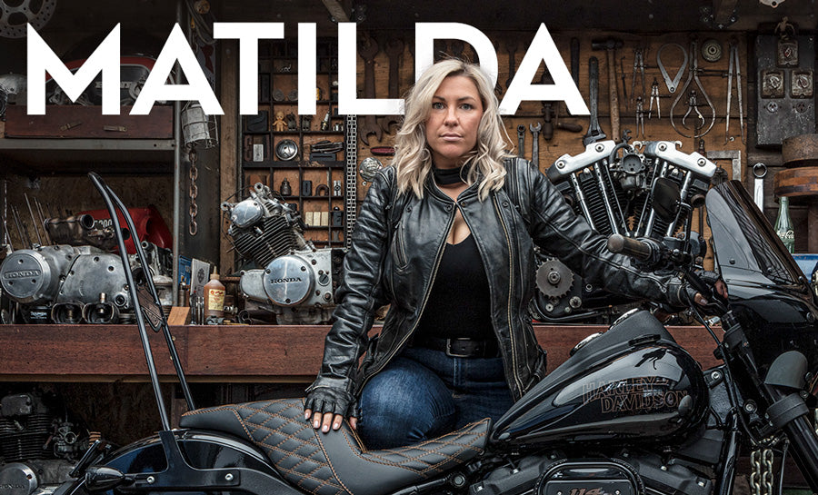 Matilda Wand and her Harley Davidson Superlow