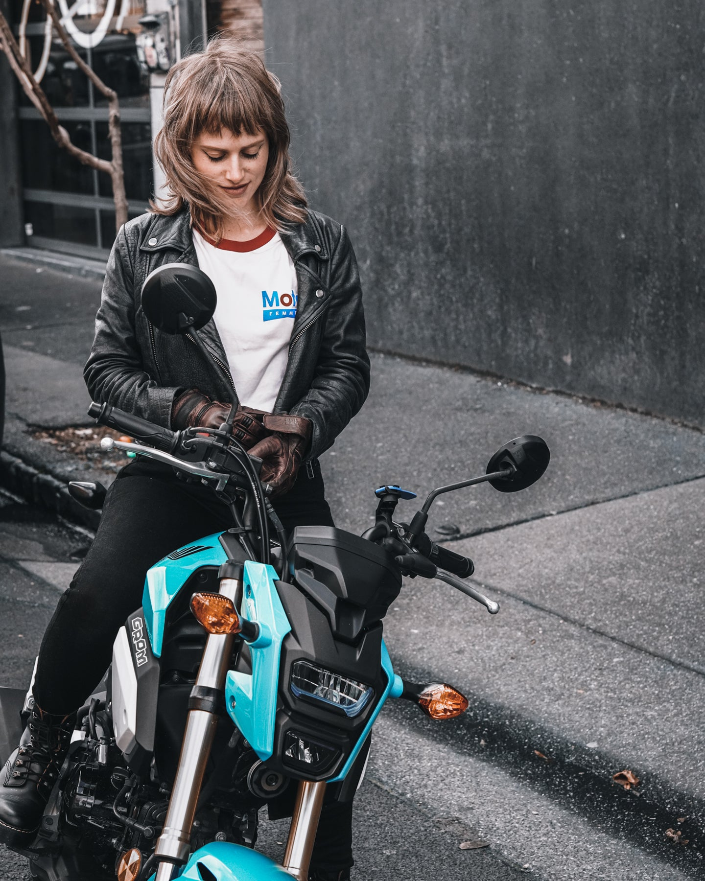 Jo and her Honda Grom in Collingwood, Melbourne