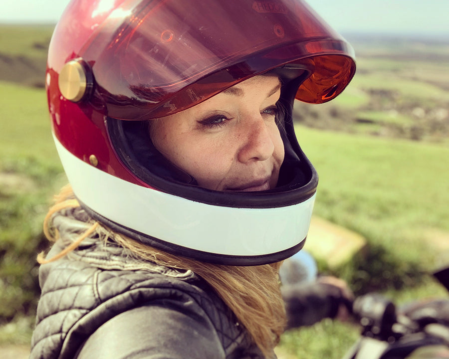 Sophie Morgan wearing the Hedon Heroine Racer helmet from Moto Est.
