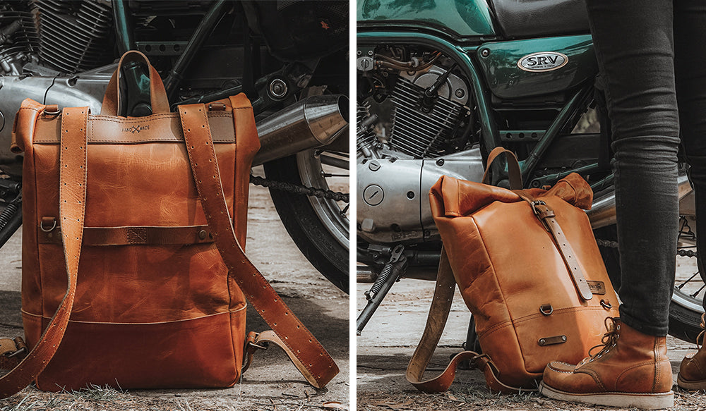 Leather backpack pannier
