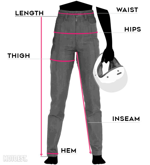 womens clutch motorcycle jeans size chart