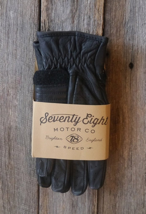 78 Motor Co. Nappa Black Speed Leather Motorcycle Gloves - Moto Est.