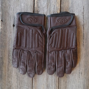 78 Motor Co. Chocolate Brown Sprint Leather Motorcycle Gloves - Moto Femmes