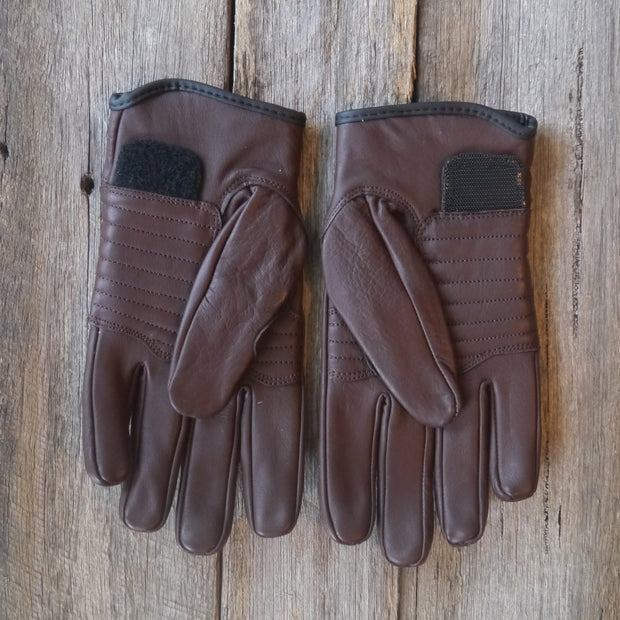 78 Motor Co. Chocolate Brown Sprint Leather Motorcycle Gloves - Moto Est.