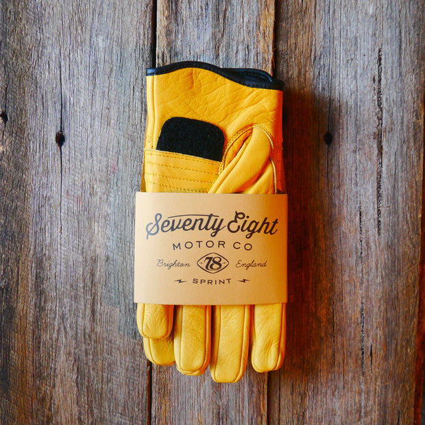 78 Motor Co. Dune Yellow Sprint Leather Motorcycle Gloves - Moto Est.