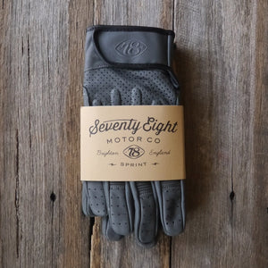 78 Motor Co. Farina Grey Sprint Leather Motorcycle Gloves - Moto Femmes