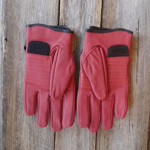 78 Motor Co. Signet Red Sprint Leather Motorcycle Gloves
