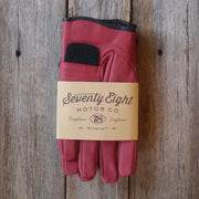 78 Motor Co. Signet Red Sprint Leather Motorcycle Gloves - Moto Est.