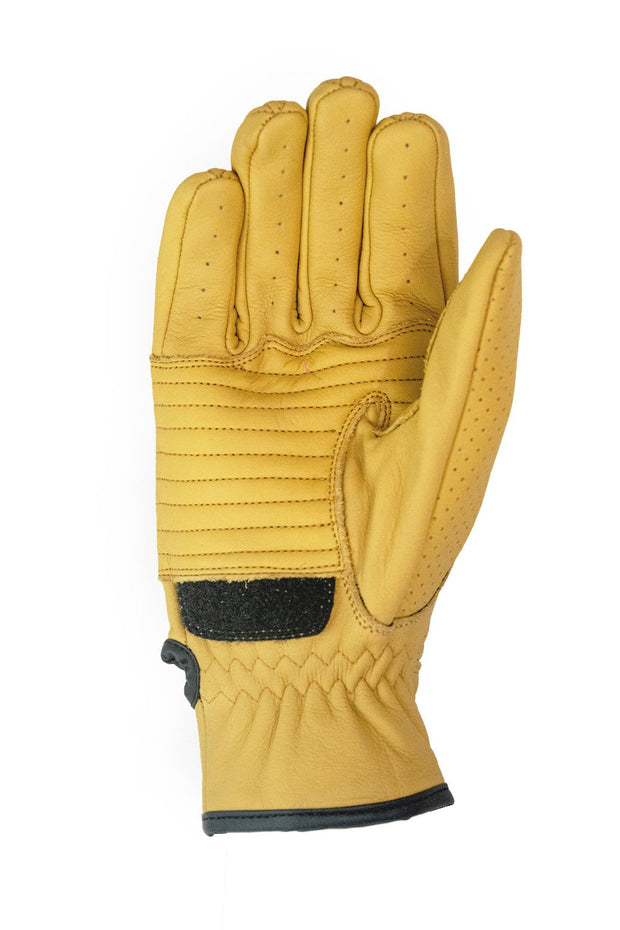 Dune Yellow Speed motorcycle gloves by 78 Motor Co. online at Moto Est Australia - inside