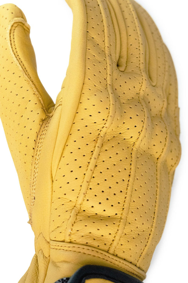 Dune Yellow Speed motorcycle gloves by 78 Motor Co. online at Moto Est Australia - detail