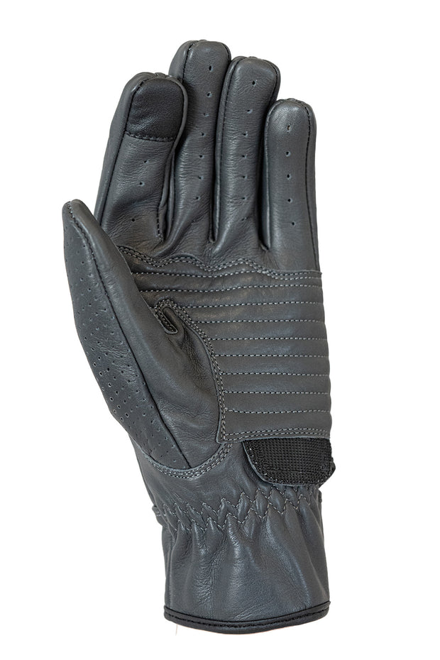 Speed MkIII Farina Grey Leather Motorcycle Gloves with Knuckle Protection and touch screen