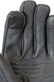 grey leather motorcycle gloves with touch screen panel