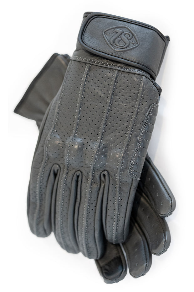 Speed MkIII Farina Grey Leather Motorcycle Gloves with Knuckle Protection