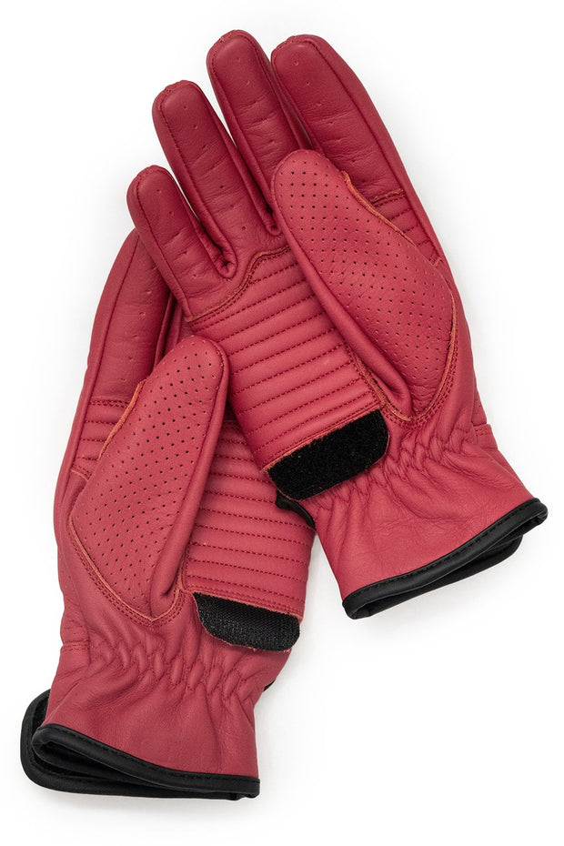 Signet Red Speed motorcycle gloves by 78 Motor Co. online at Moto Est Australia - velcro