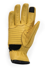 Dune yellow leather motorcycle gloves by 78 Motor Co.