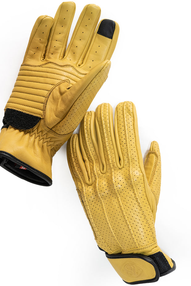 Dune yellow leather motorcycle gloves with touch screen