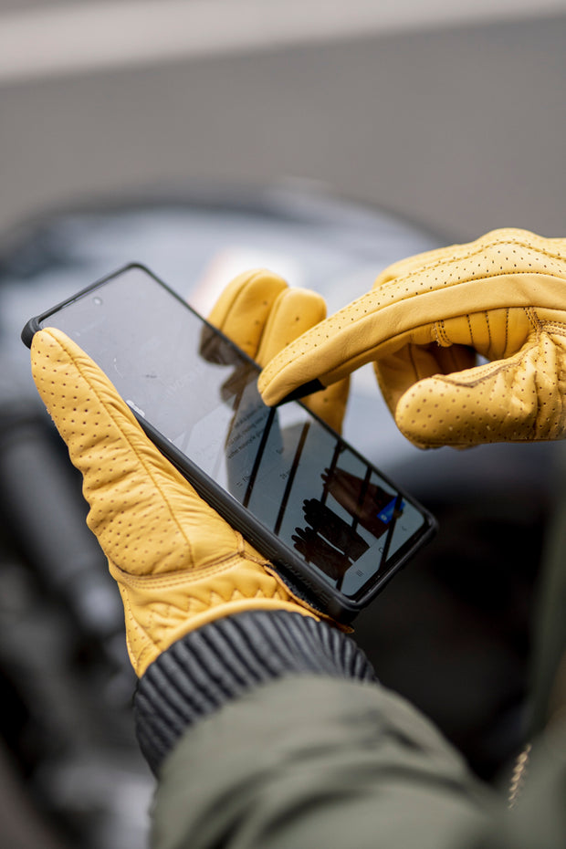 yellow leather motorcycle gloves online at Moto Est. Australia
