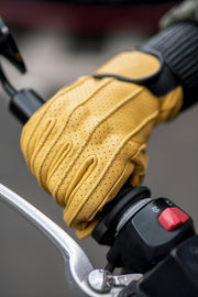 yellow leather motorcycle gloves with knuckle armour online at Moto Est. Australia
