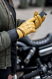 Dune yellow leather motorcycle gloves