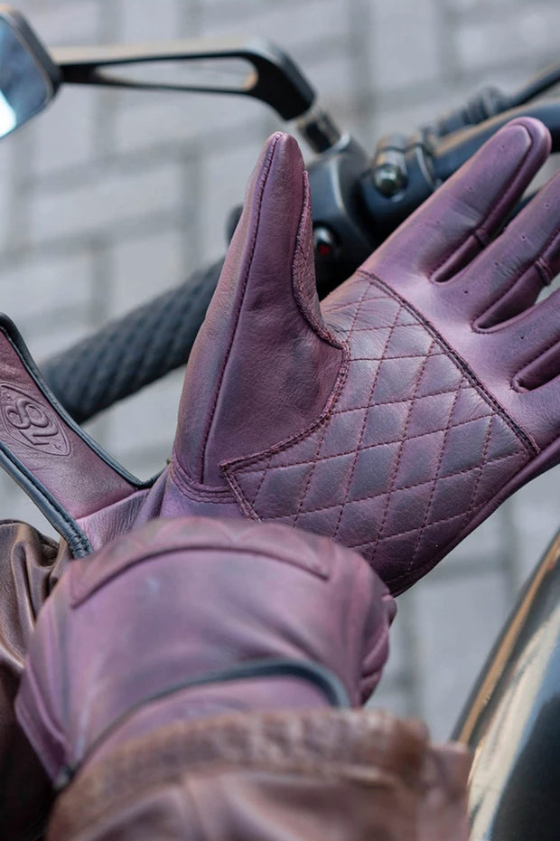 78 Motor Co. Sirocco Leather Motorcycle Gloves blackcrurrant - Moto Est.