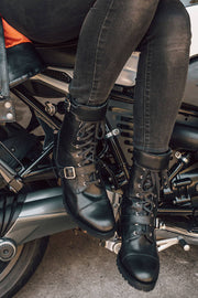 Black Arrow Label Josie Women's Leather Motorcycle Boots