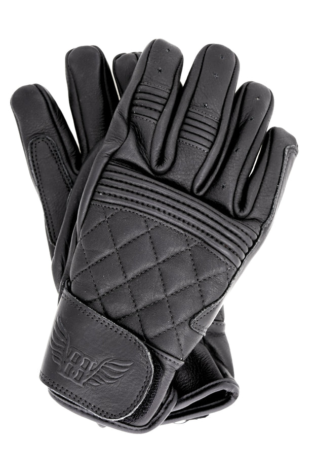 Buy the cafe quilted gloves black online at Moto Est. Australia 3
