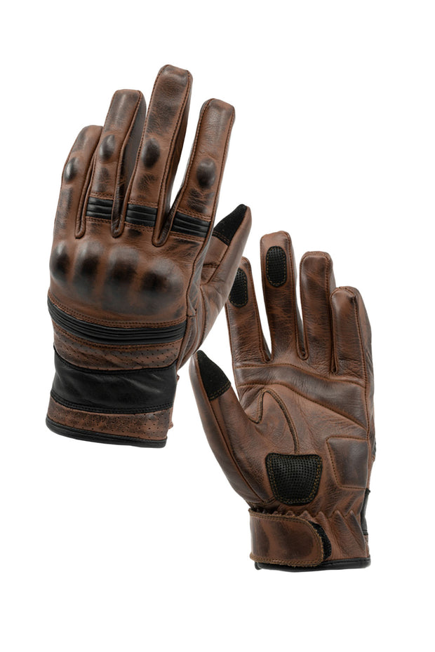 Blackbird Motorcycle Wear  Boston Brown Leather Motorcycle Gloves with Knuckle Protectors