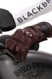 Blackbird Boston Bordeaux Leather Motorcycle Gloves
